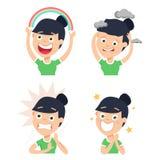 Uma dona de casa tem várias expressões faciais ilustração stock