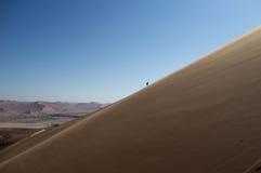 Uma duna de Person Climbing Up Big Daddy, paisagem do deserto, Namíbia imagens de stock