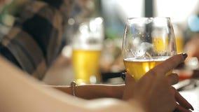 Uma empresa do divertimento está bebendo a cerveja na barra vídeos de arquivo