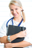 Uma enfermeira nova, bonita Fotografia de Stock