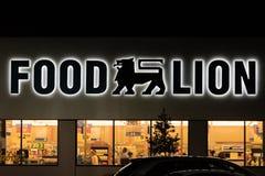 Uma entrada da mercearia do leão do alimento na noite foto de stock royalty free