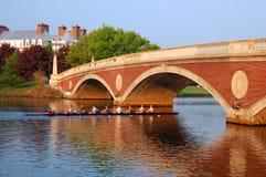 Uma equipe do grupo em Charles River Boston imagens de stock royalty free