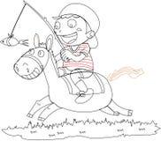 Uma equitação do menino em um cavalo Fotografia de Stock