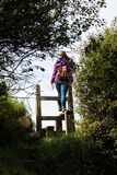 Uma escada inglesa do país com mulher Fotografia de Stock