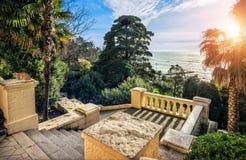 Uma escadaria amarela ao mar Foto de Stock Royalty Free