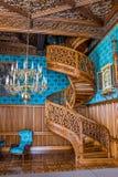 Uma escadaria espiral cinzelou de uma uma árvore, castelo Lednice Fotos de Stock Royalty Free