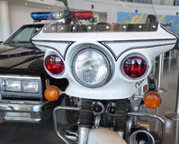 Uma escolta da motocicleta de LAPA e do carro de polícia para a limusina presidencial de Ronald Reagan Imagens de Stock