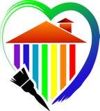 Uma escova e uma casa de pintura com coração ilustração do vetor