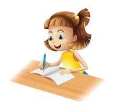 Uma escrita feliz da menina Fotografia de Stock