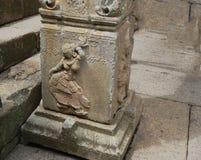 Uma escultura de um dançarino da mulher chamado como o ` de Nartaki do ` cinzelou na pedra foto de stock royalty free