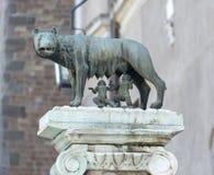 Uma escultura de um homem em um cavalo Fotografia de Stock Royalty Free