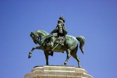 Uma estátua de um cavaleiro em Roma Fotografia de Stock Royalty Free