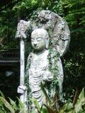 Uma estátua japonesa da Buda coberta nas videiras Fotos de Stock Royalty Free