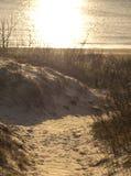 Uma estrada de madeira entre as dunas que conduzem ao mar Báltico no por do sol em Klaipeda, Lituânia imagem de stock