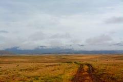 Uma estrada de terra molhada conduz em Prescott Valley Landscape Fotografia de Stock Royalty Free