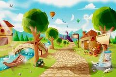 Uma estrada do tijolo a uma vila da fantasia com um castelo e uma paisagem bonita