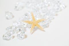 Estrela do mar e gemas brancas imagem de stock royalty free
