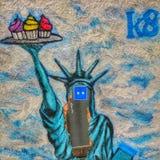 Uma etiqueta azul na liberdade da senhora Foto de Stock Royalty Free