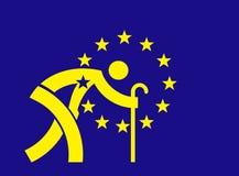 Uma Europa de envelhecimento - bandeira da União Europeia ilustração royalty free