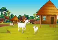 Uma exploração agrícola com cabanas do nipa ilustração royalty free