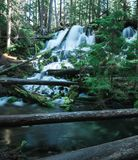 Uma exposição longa de uma cachoeira escondida na floresta tropical foto de stock