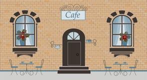 Uma fachada do café em um fundo do tijolo ilustração stock