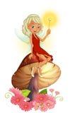 Uma fada que guarda uma varinha que senta-se acima de um cogumelo gigante ilustração royalty free