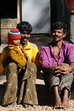 Uma família deficiente no precário com vida feliz Foto de Stock Royalty Free