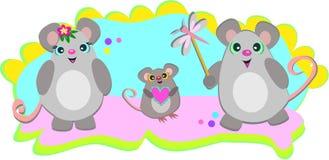 Uma família dos ratos Imagens de Stock