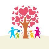 Uma família feliz Figuras coloridos, membros da família loving Pais: Mamã e paizinho e crianças ilustração do vetor