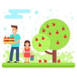 Uma família feliz recolhe colheitas da maçã ilustração stock