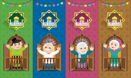 Uma família muçulmana que comemora o festival de Raya, com fundo malaio colorido do motivo ilustração stock