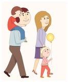 Uma família que anda junto Imagens de Stock Royalty Free