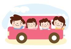 Uma família viaja em um barramento Imagem de Stock Royalty Free