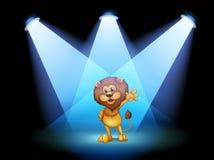 Uma fase com um leão que acena no meio ilustração stock
