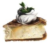 Uma fatia de bolo de queijo com cobertura e hortelã do chantiliy ilustração do vetor