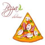 Uma fatia de pizza deliciosa Fotos de Stock Royalty Free
