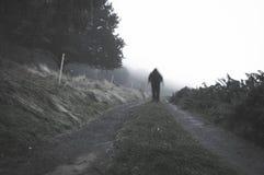 Uma figura encapuçado espectral borrada assustador em um trajeto no campo em um dia nevoento Com abafado, granulado edite fotos de stock royalty free