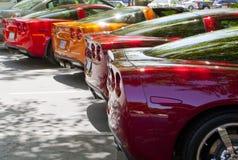 Uma fileira de Chevys Corvetas Imagens de Stock