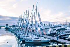 Uma fileira delgada dos iate no porto de Sochi fotos de stock royalty free