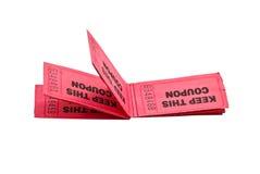 Uma fileira dos bilhetes/vales Fotos de Stock