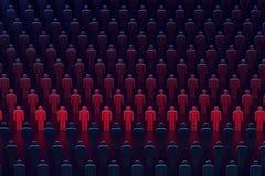 Uma fileira dos povos que incandescem vermelha Conceito das estatísticas rendição 3d ilustração stock