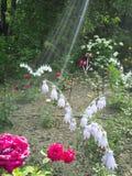 Uma flor de uma garrafa plástica Cogumelo das bandejas velhas Cisne do ônibus A decoração para o jardim fá-lo você mesmo reusar imagens de stock