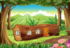 Uma floresta com uma casa de log ilustração royalty free