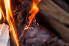 Uma folha de papel que queima-se com uma chama brilhante alaranjada vermelha com calor foto de stock royalty free