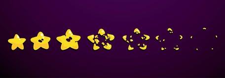 Uma folha do duende, explosão de uma estrela Animação para um jogo ou uns desenhos animados ilustração royalty free