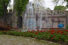 Uma fonte bonita cercada por flores vermelhas Fotografia de Stock