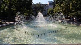 Uma fonte bonita gosta de um coração no centro de Sófia no verão quente Imagem de Stock