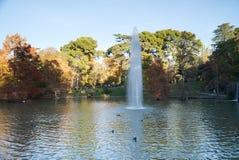 Uma fonte no lago no parque de Buen Retiro no Madri Fotos de Stock Royalty Free