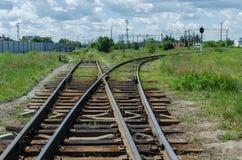 Uma forquilha na estrada de ferro Fotografia de Stock